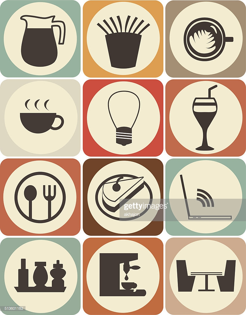 Retro style coffee shop icon set - Cafe SuuS